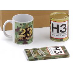 """Подарочный набор для мужчины на 23 февраля """"Классический НЗ"""" (кружка + шоколадка + банка с носками + подарочный пакет)"""